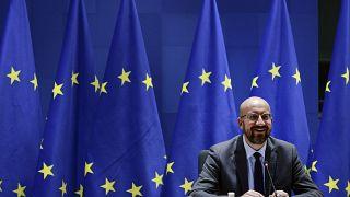 رئيس المجلس الأوروبي شارل ميشال خلال اجتماع حول منطقة اليورو