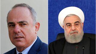 İsrail Enerji bakanı Yuval Steinitz (solda), İran Cumhurbaşkanı Hasan Ruhani (sağda)