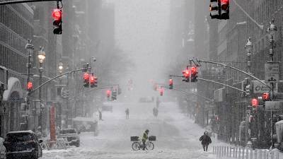 A snow-covered street in the midtown area of Manhattan, New York City