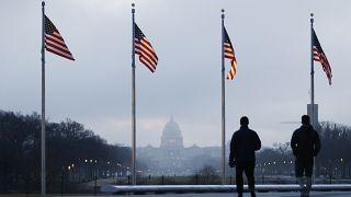 أعلام أمريكية ومبنى الكابيتول يظهر في الخلفية في واشنطن، الولايات المتحدة الأمريكية