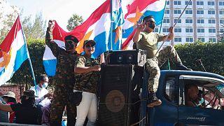 رژه نظامیان در پایتخت میانمار پس از کودتا