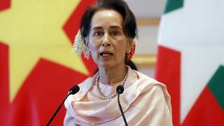 Myanmar's leader Aung San Suu Kyi speaks during a joint press conference with Vietnam's Prime Minister Nguyen Xuan Phuc in Naypyitaw, Myanmar, Dec. 17, 2019