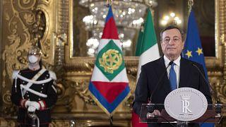 Mario Draghi, lors d'une conférence de presse à la présidence de la République, le 3 février 2021 à Rome