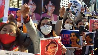 Rally against Myanmar coup outside Japan ministry