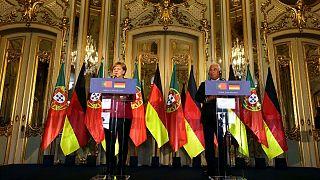 آنتونیو کوستا، نخست وزیر پرتغال(راست) و آنگلا مرکل، صدر اعظم آلمان