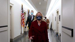 النائبة الأمريكية مارجوري تايلور غرين تغادر مكتبها في الكابيتول هيل، واشنطن، 3 فبراير 2021