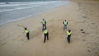 Garda Police dancing on a beach in Ireland as part of the #JerusalemaChallenge