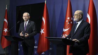 CHP lideri Kemal Kılıçdaroğlu ile Saadet Partisi lideri Temel Karamollaoğlu'nu ziyaret etti