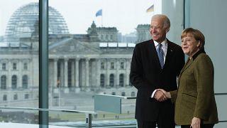 German Chancellor Angela Merkel, right, and then Vice President Joe Biden in Germany. Friday, Feb. 1, 2013.