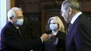 Russian Foreign Minister Sergey Lavrov, right, and High Representative of the EU for Foreign Affairs and Security Policy Josep Borrell