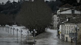 flooded houses and streets in La Reole, some 75kms east of Bordeaux, on February 4, 2021, after the River Garonne overflowed its banks following recent heavy rainfall.