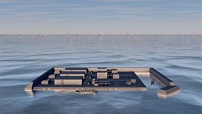 Illustration of what the future wind farm island will look like.