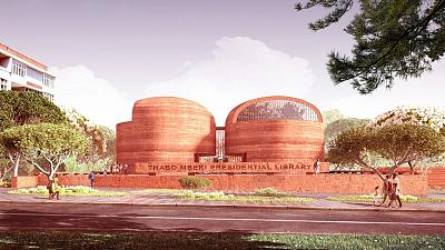 Visual handout showing design of the Thabo Mbeki Presidential Library in Johannesburg, South Africa.