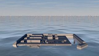Animation showing an illustration of what the future wind farm island will look like.