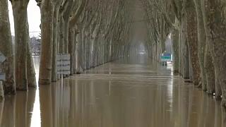 Road covered by the Garonne River