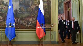 Sergei Lavrov, Russian Foreign Minister and Josep Borrell Fontelles arrive at the podium to give a joint press conference
