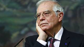 High Representative of the EU for Foreign Affairs and Security Policy, Josep Borrell, listens during a joint news conference with Russian Foreign Minister Sergey Lavrov.