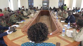 اجتماع اتفاق سلام بين  الجهات المتنازعة في مدينة يامبيو ، جنوب السودان 2019