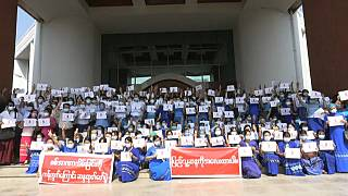 Students and teachers protest in Yangon
