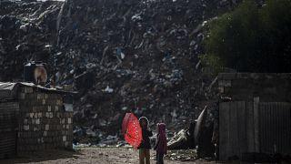 Dos niñas palestinas en la franja de Gaza