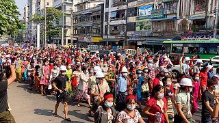 تظاهرات در یانگون، بزرگترین شهر میانمار
