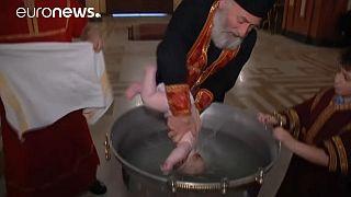 Gürcistan'da vaftiz töreni