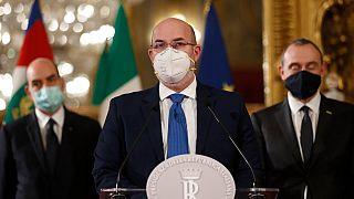 Il capo politico ad interim del M5S dopo il colloquio della sua delegazione con Draghi, Roma
