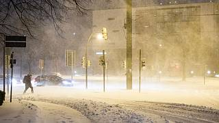 Intensa nevada en Bielefeld, Alemania
