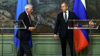 Archives : Le chef de la diplomatie européenne Josep Borrell et Sergueï Lavrov, le ministre russe des Affaires étrangères, le 5 février à Moscou