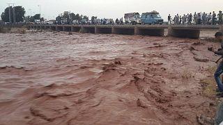 صورة أرشيفية لمياه فيضانات في المغرب