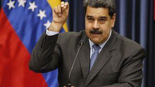Nicolás Maduro durante una conferencia de prensa en el Palacio de Miraflores en 2018