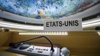 مقعد الولايات المتحدة الأمريكية، بعد انسحابها في مقر الأمم المتحدة في جنيف.