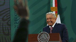 Andrés Manuel López Obrador en una rueda de prensa desde el Palacio Nacional