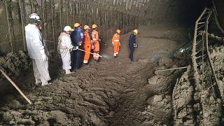 Labores de rescate en el tunel donde están atrapados los obreros de una central hidroeléctrica, Tapovan, estado de Uttarakhand, la India 8/2/2021