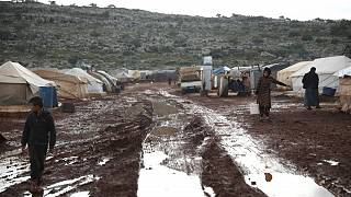 مخيم للاجئين السوريين في قرية كفر عروص في إدلب. 2021/01/28