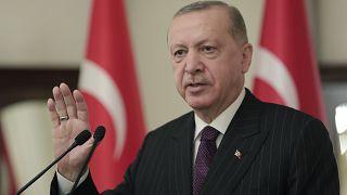 الرئيس التركي رجب طيب أردوغان في انقرة. 2021/01/12