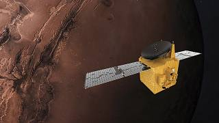 This June 1, 2020 illustration provided by Mohammed Bin Rashid Space Centre depicts the United Arab Emirates' Hope Mars probe.