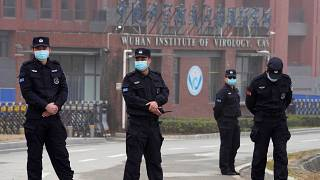 Security outside the Wuhan Insitutue of Virology, one of the key sites of the WHO team's visit to China