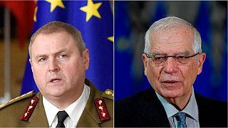 جوزپ بورل، مسئول سیاست خارجی اتحادیه اروپا(راست) و ریهو تراس، نماینده استونی در پارلمان اروپا در استونی( چپ)