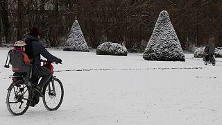 ویدئو؛ بارش برف سنگین بروکسل را پیست اسکی کرد
