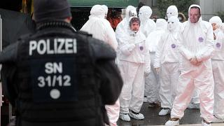 People protest against the COVID-19 policy of the federal government in Chemnitz, Germany, on Feb 06, 2021.