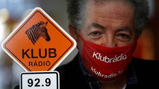 Andras Arato, Klubradio's director and CEO is seen in the studio of Klubradio in Budapest, Tuesday, Feb. 9, 2021.