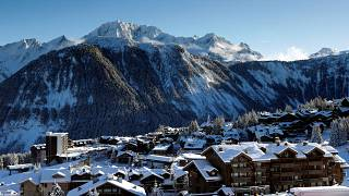 This photograph taken on December 13, 2020 shows a general view of the French Alps ski resort of Courchevel.
