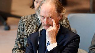 مبعوث الأمم المتحدة إلى سوريا غير بيدرسون في مقر المنظمة الأممية في نيويورك. 2019/04/30