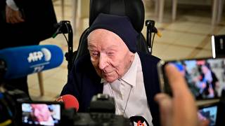 Sister Andre, Lucille Randon in the registry of birth, talks to journalists during an event to celebrate her 116th birthday in Toulon, southern France. Feb. 11, 2020