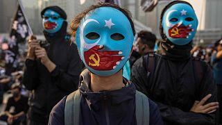 Eylem yapan Uygurlar