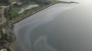 Becslések szerint percenként 5 gallonnyi kőolaj folyt az öböl vizébe.
