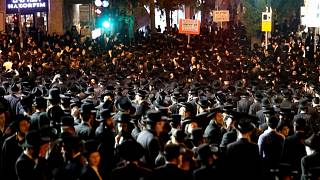 Ultra-Orthodox Jews demonstrating against Covid restrictions