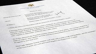 Il memorandum del medico di Donald Trump alla Casa Bianca, Sean Conley, in cui si attesta che è stato curato con una dose da 8g di cocktail Regeneron