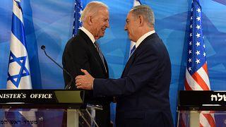 الرئيس الأمريكي جو بايدن ورئيس الوزراء الإسرائيلي بنيامين نتنياهو، (الصورة التقطت حين كان بايدن نائباً للرئيس الأسبق باراك أوباما)